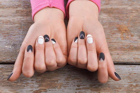 Well Groomed Hands With Cute Manicure Beautiful Woman Hands Stock