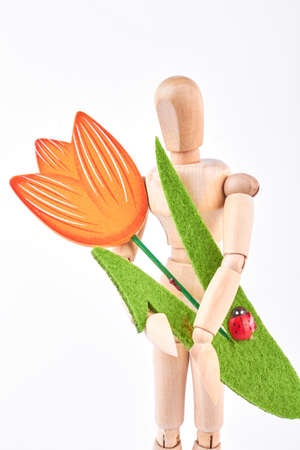 marioneta de madera: Wooden dummy holding handmade tulip. Human wooden mannequin with artificial flower on white background. Holiday and celebration concept. Foto de archivo