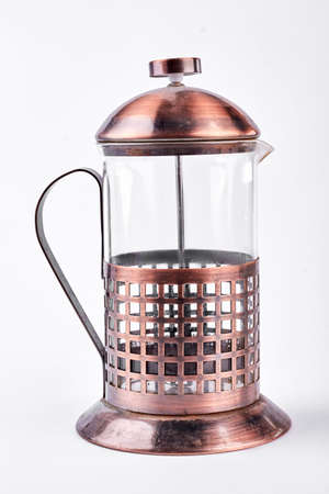 brewery: French press tea maker on white background.