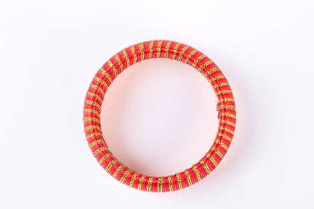 Woman stylish bracelet, top view. Fashion design bangle isolated on white background. Woman luxury accessory.