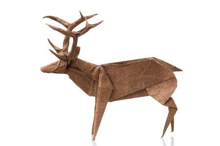 Origami reindeer design on white. Detailed figurine of horned animal, paper wet-folding technique.