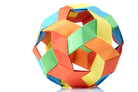 Multicolor sphericalal abstract origami decoration. Difficult level, skills and experience, art of folding paper. Stock Photo