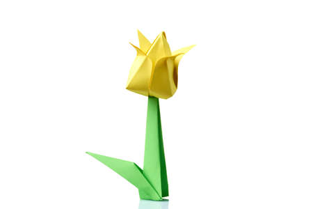 Yellow tulip origami flower traditional model of bulb and leaf stock photo yellow tulip origami flower traditional model of bulb and leaf simple origami crafting for beginners mightylinksfo