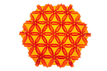 Red and orange tessellated origami with flower elements. Complex artwork made by a professional. Stock Photo