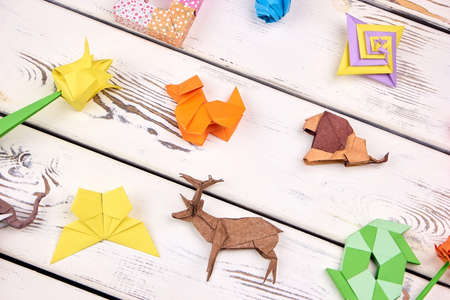 Set of origami projects on rustic wooden background. Flowers, animals and abstract models. Childs hobby, art.