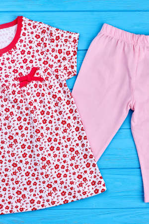 New collection of kids summer garment. Top quality of natural clothes for kids. Toddler girl summer apparel for casual wear.