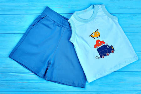 Baby-boy summer cotton suit. Natural blue cotton shorts and cartoon t-shirt for infant boy. Toddler boy summer clothes on sale.