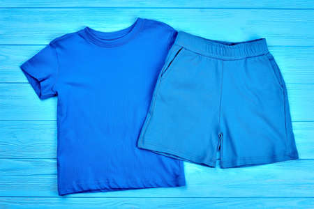 Set of baby boy cotton clothing. Natural apparel for toddler boys. Kids summer outfit.