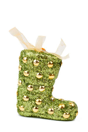 green and gold christmas festive sock green christmas stocking isolated on white background bag - Gold Christmas Stocking