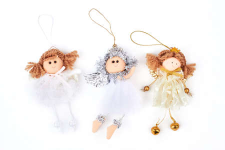 collection of christmas angels figurines three cute christmas angels decorations isolated on white background - Christmas Angel Decorations
