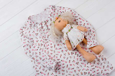 Nightgown and stuffed doll. Floral print and ruffles. Adorable gift set for daughters birthday.