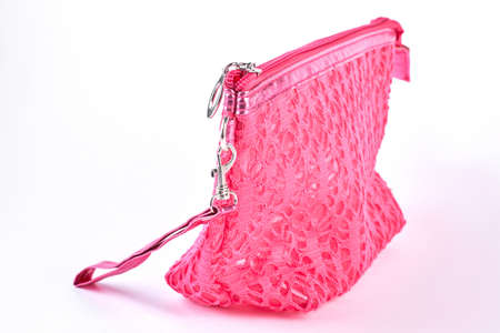 Pink lace patterned cosmetics bag. beautiful pink color bag for make up cosmetics. Woman bag for toiletry.