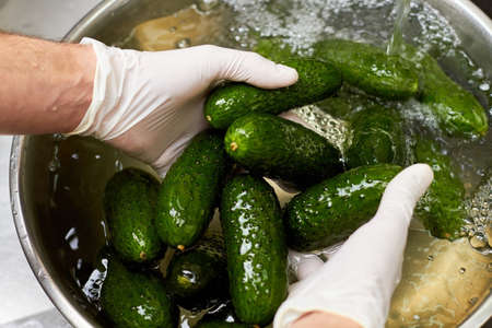 Hands holding five cucumbers. Chef rinsing cucumbers in metal bowl.