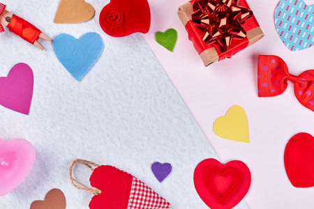 valentines day decorations and gifts background colorful felt