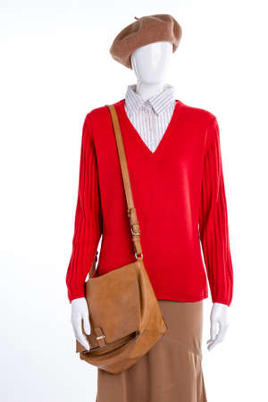 Female sweater, handbag and skirt. Red sweater and brown leather bag for ladies. Women fashion style.