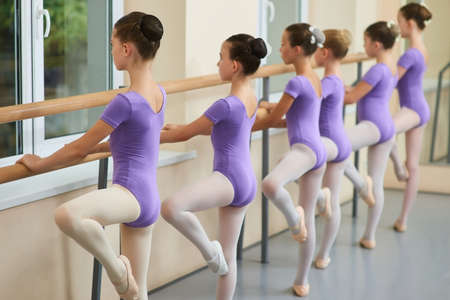 Young ballerinas training at ballet barre. Group of ballet dancers posing near barre in ballet studio. Difference between gymnastics and ballet.