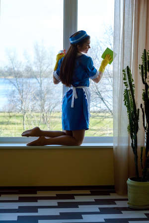 Attractive young housemaid wiping window.