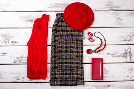 Winter style garment for ladies. Women clothing set and accessories on light background. Imagens