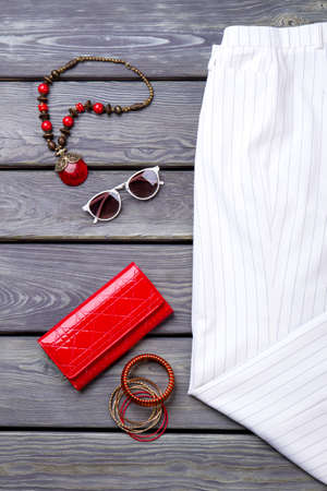 Womens belongings, flat lay. Accessories of young stylish woman. Imagens