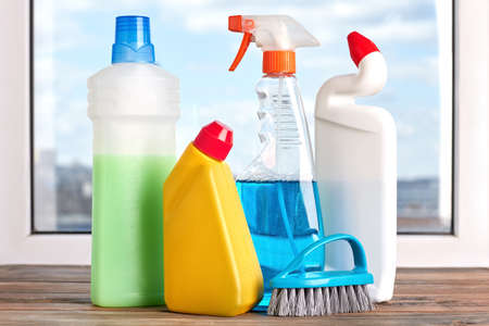 Set of cleaning and sanitation products. Variety of cleaning products. Home work and cleaning concept.