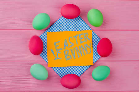 Frame From Colorful Easter Eggs Yellow Card With Text Easter