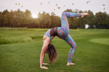 Single leg glute bridge. Young attractive woman practicing yoga, standing in bridge exercise. One legged wheel pose.