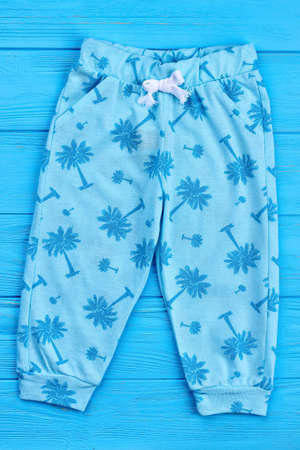 01b4a93b1463 Light blue summer baby leggings. Stylish patterned children trousers