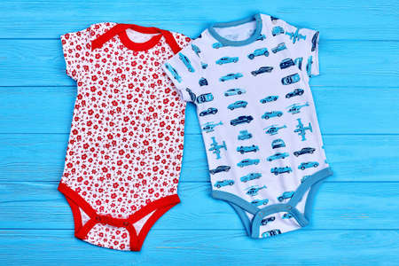 Boy and girl cotton bodysuits. Toddlers summer fashion. Infnat baby summer style. Stock Photo