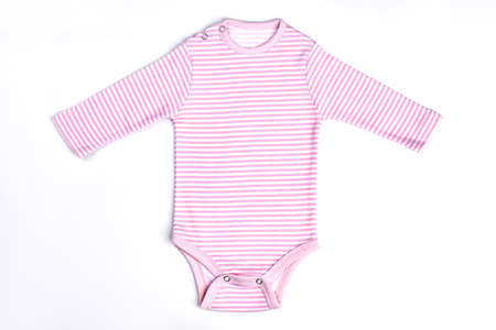 White pink stripes baby bodysuit. Baby-girl cotton striped romper isolated over white.