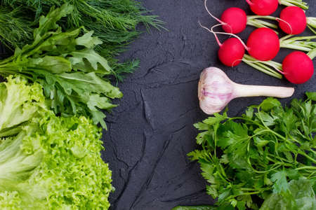 Fresh vegetables on black slate. Frame from fresh organic lettuce, parsley, dill, arugula, garlic and radish with space in center. Only healthy food, there is no diet. Stock Photo