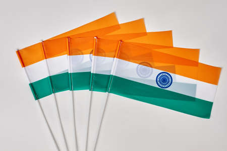 Collection of indian flags. India flags on white isolated background. Stock Photo