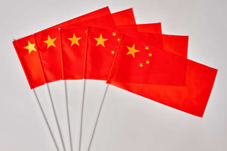 Collection of chinese flags. China flags on white isolated background. Stock Photo
