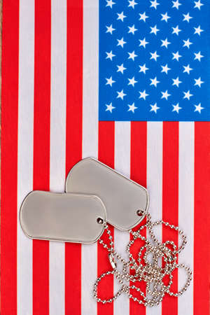 Dog tags and american usa flag. US flag and accessories.
