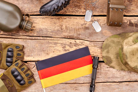 Set of deutsch army soldier items. Military equipment, top view, flat lay.
