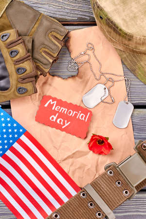 American army veteran's equipment and souvenirs. Memorial day items, flat lay. Top view. Stock Photo