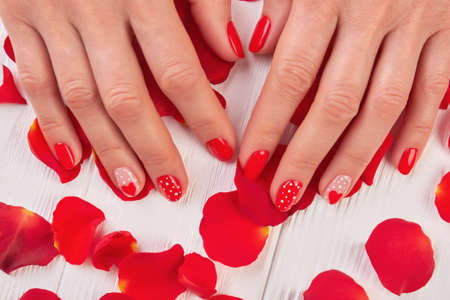 Female manicured hands and rose petals. Woman finger with red designed nails on rose petals. Perfect manicure design on Valentine Day. Stock Photo