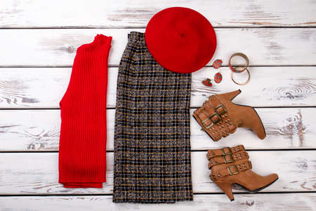Fashion lady сlothes set. Feminine winter clothing and accessories, flat lay.