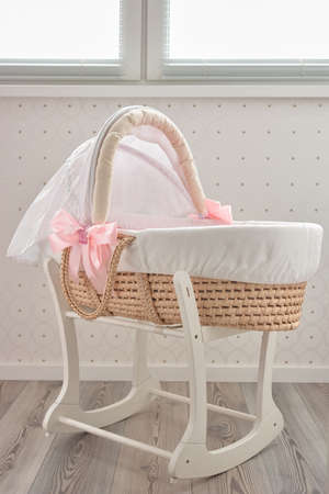Lullaby baby basket bed. Fashionable moses bed for newborn indoor.