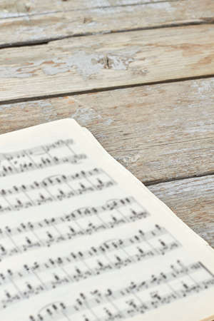Musical notes background. Classical piano sheets. Vintage music book. Stock Photo