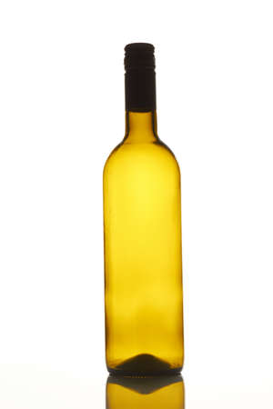 Empty brown wine bottle. Isolated on white background.