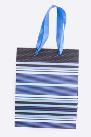 Shopping bag with satin handles. Color stripe design of paper gift bag isolated on white background.