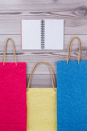 Colorful paper gift bags with handles. Three colored shopping bags with blank notepad on wooden background.