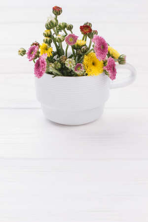 Immature flowers in white mug. White wooden table background. 免版税图像