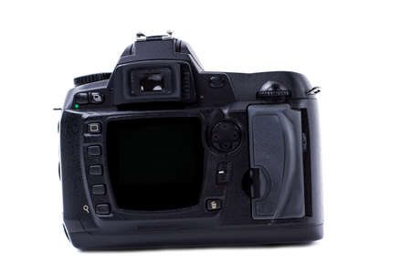 Digital camera isolated on white background. Close up of black photo camera. Modern digital tecnology. Banco de Imagens