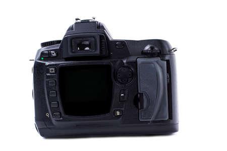 Fotocamera digitale isolata su sfondo bianco. Primo piano della macchina fotografica nera. Tecnologia digitale moderna.