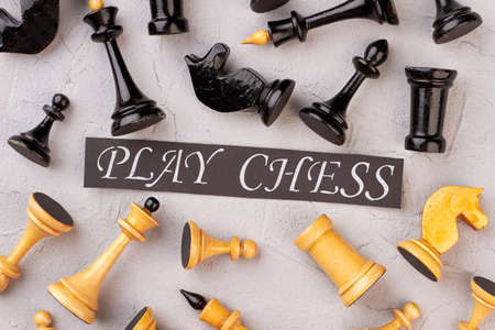 Play chess concept. Background of white and black chess pieces. Time for intellectual game. Stock fotó