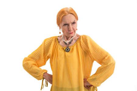Angry woman, hands on waist. Lady with raised eyebrow. 版權商用圖片
