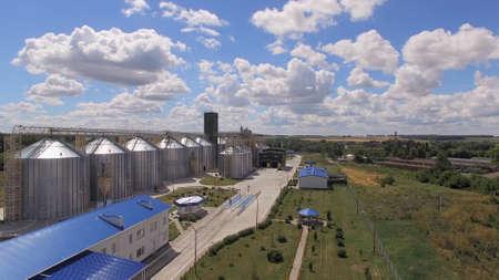 Tetiiv, Ukraine. Grain storage tanks and buildings. Stok Fotoğraf