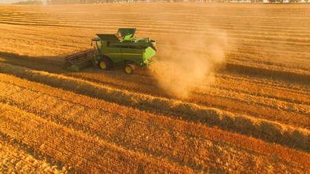 15.07.16 - Tetiiv, Ukraine. Modern combine harvester in action. Developing agribusiness step by step. Stok Fotoğraf