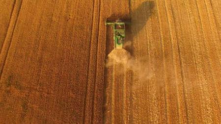Top view of combine harvester. Grow grains for export.